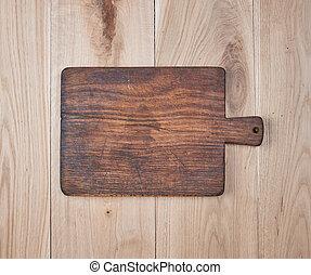 vieux, bois, planche découper, table, vide, cuisine