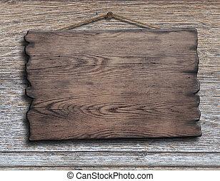 vieux, bois, planche, ou, plaque, accrocher dessus, bois construction, planche, mur