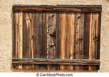 vieux, bois, plaque, sur, mur