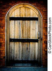 vieux, bois, porte