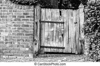 vieux, bois, rustique, mur, portail, brique