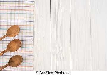 vieux, bois, serviette, cuillère, table., cuisine