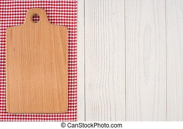 vieux, bois, serviette, planche découper, table., cuisine
