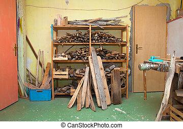 vieux, bois, stockage, endroit, branches, planches, rempli