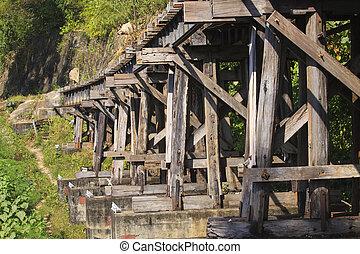 vieux, bois, structure, de, mort, chemins fer, pont, important, repère, une