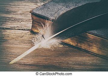 vieux, bois, stylo, livre, retro, fond, table, plume