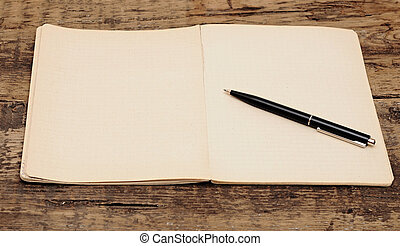 vieux, bois, stylo, table, cahier
