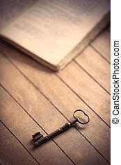 vieux, bois, vendange, livres, clã©, table.