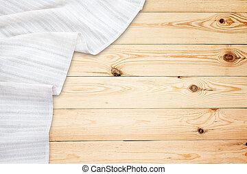 vieux, bois, vendange, sommet, tablecloth., table, blanc, mockup., vue