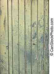 vieux, bois, vert, fané, porte, planches
