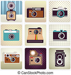 vieux, bon appareil-photo, ensemble