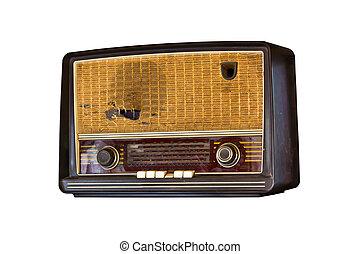 vieux, bonne radio, isolé, blanc, fond