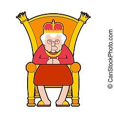 vieux, boss., reine, royal, illustration, vecteur, chair., throne., dame