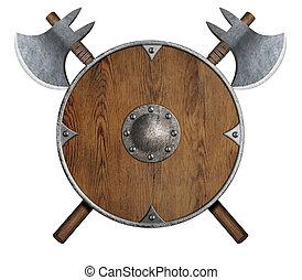 vieux, bouclier, bois, haches, vikings', deux, isolé, traversé