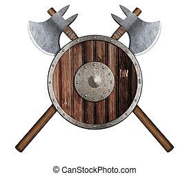 vieux, bouclier, bois, haches, vikings', deux, traversé