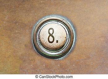 vieux, bouton, -, 8