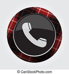 vieux, bouton, -, téléphone, noir, tartan, rouges, icône