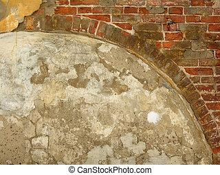 vieux, brique, wall., arc