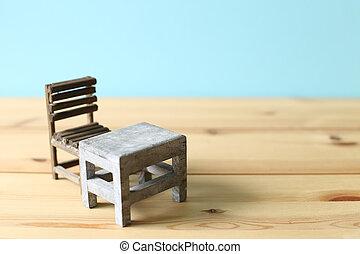 vieux, bureau scolaire, chaise