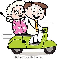 vieux, bureau, scooter, -, illustration, vecteur, équitation, employé, homme affaires, dame, dessin animé