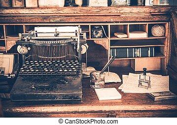 vieux, bureau, vendange, machine écrire