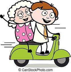 vieux, bureau, vendeur, scooter, -, illustration, vecteur, employé, équitation, dame, dessin animé