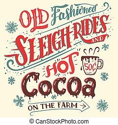 vieux, cacao, chaud, façonné, tours sleigh, carte