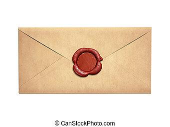 vieux, cachet, enveloppe, isolé, lettre, cire, étroit, rouges