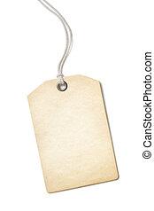 vieux, cadeau, étiquette prix, isolé, papier, vide, blanc,...