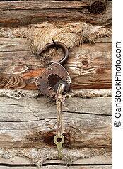 vieux, cadenas, clã©