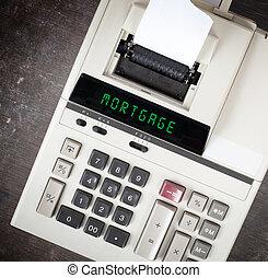 vieux, calculatrice, -, hypothèque