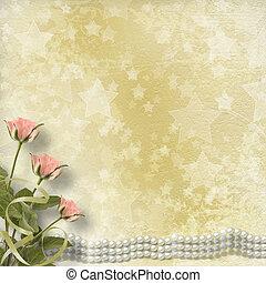 vieux, carte postale, vendange, roses, perles, félicitation
