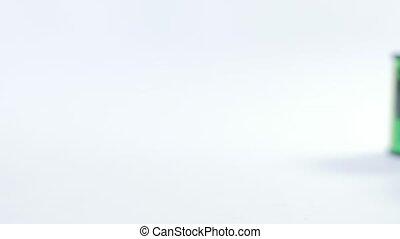 vieux, cartouche, mm, 35, arrière-plan., blanc, pellicule