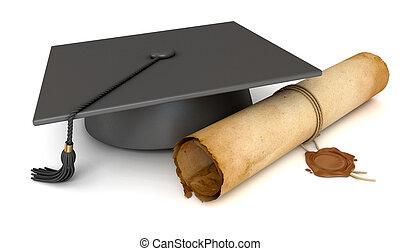 vieux, casquette, remise de diplomes, papier, cire, diploma., cachet, rouleau