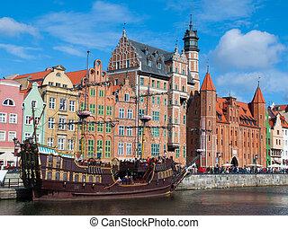 vieux, centre, motlawa, bateau historique, rivière, gdansk