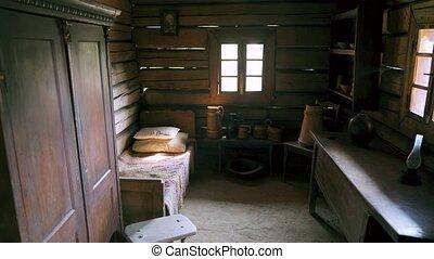 vieux, century., 18, salle, hutsul, maison, ukraine., 4k