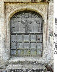 vieux, château, porte, lanhydrock