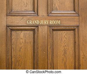 vieux, chêne, entrée, porte, ot, grandiose, jury, salle,...