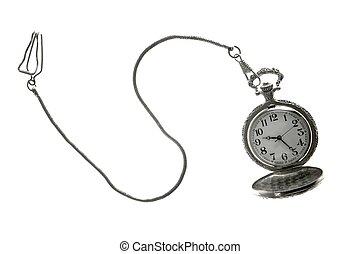 vieux, chaîne, horloge, montre, poche, argent