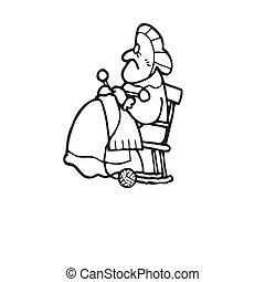 vieux, chaise, femme, tricot, séance