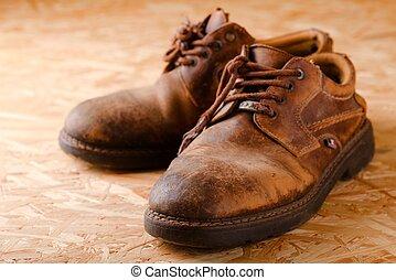 vieux, chaussures, bois, boad, porté, paire