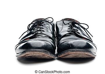vieux, chaussures, business, cuir, porté, noir, paire
