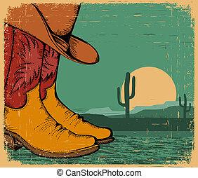 vieux, chaussures, cow-boy, papier, occidental, fond, déserter paysage