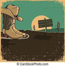 vieux, chaussures, cow-boy, texture, illustration, désert ouest, paysage