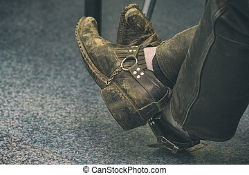 vieux, chaussures, séance, sale, jambes, homme