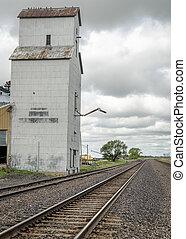 vieux, chemin fer, ascenseur grain