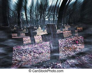 vieux, cimetière, halloween, fond