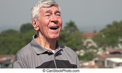 vieux, citoyen, homme aîné, ou, heureux