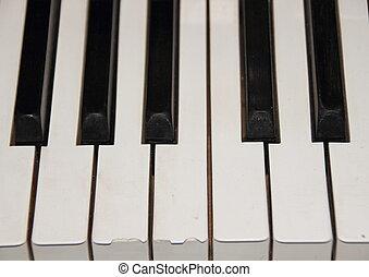 vieux, clã©, une, cassé, octave, piano