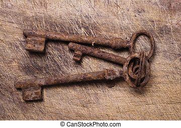 vieux, clés, bois, table.
